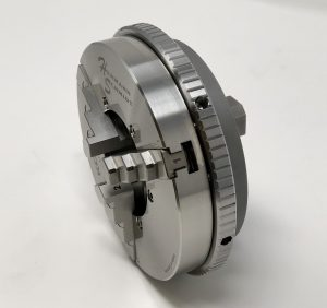 Side View of Stainless Steel Scroll Chuck on System 3R Macro